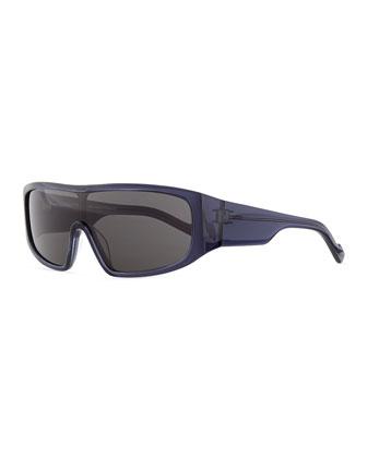 Plastic Shield Sunglasses, Navy