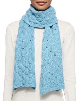 Cashmere Lace-Knit Scarf, Wedgewood Blue