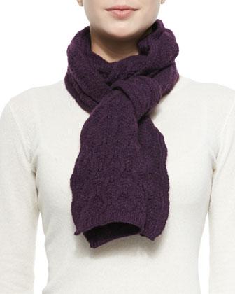 Cashmere Lace-Knit Scarf, Plum