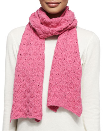 Cashmere Lace-Knit Scarf, Dahlia