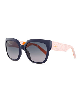 My Dior Cannage-Arm Sunglasses, Navy/Pink