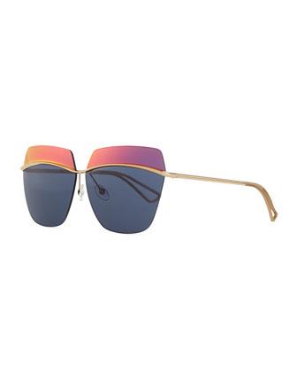 Metallic Colorblock-Lens Sunglasses, Orange