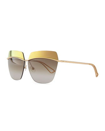 Metallic Colorblock-Lens Sunglasses