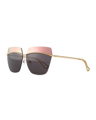 Metallic Colorblock-Lens Sunglasses, Gray/Copper