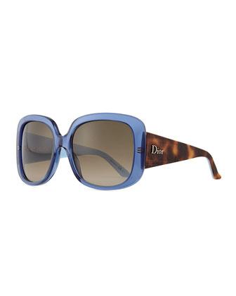 LadyLady Oversize Sunglasses, Blue/Havana