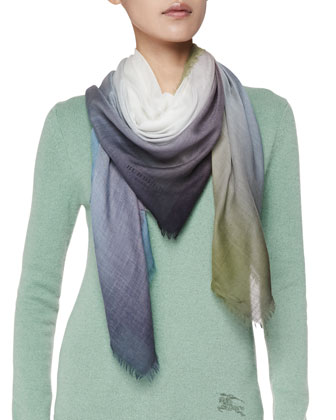 Lightweight Cashmere Ombre Scarf, Green/Blue/Multi