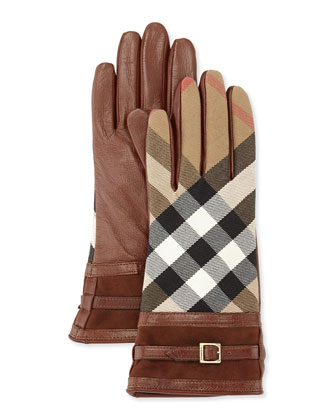 Tech Bridle Housecheck Nicola Touch Gloves, Brown