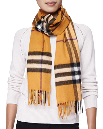 Cashmere Giant Check Scarf, Copper Orange