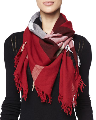 Colour Check Scarf, Red