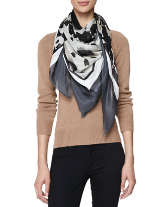 Animal-Print Square Scarf, Gray/White