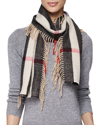 Giant Check Scarf with Fringe, Camel