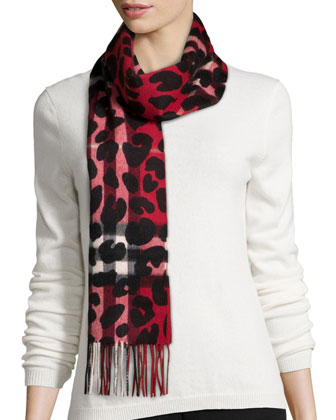 Animal/Check Printed Cashmere Scarf, Red