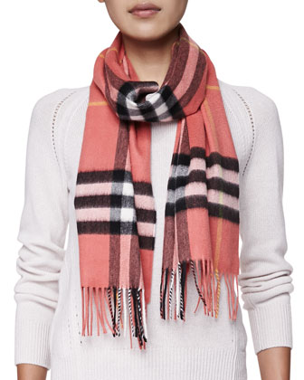 Cashmere Giant Check Scarf, Coral Pink