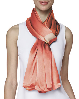 Mulberry Silk Mega Check Scarf, Coral/Pink