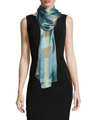 Mega Check Silk Scarf, Blue/Pink