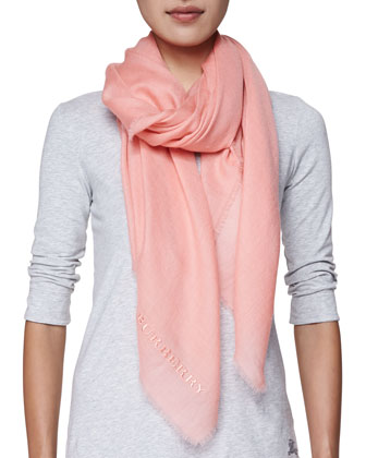 Logo-Embroidered Cashmere Scarf, Coral Pink