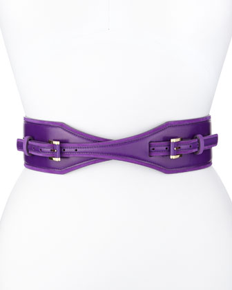 Double-Buckled Waist Belt, Aubergine