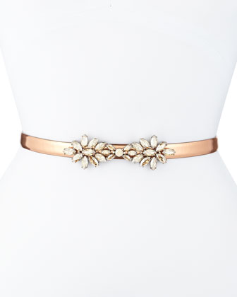 Floral-Crystal Metallic Leather Belt