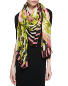 Floral & Stripe-Overlay Print Scarf, Black