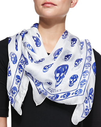 Skull-Print Scalloped Silk Scarf, White/Blue