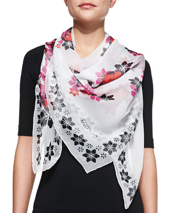 Floral Skull Print-Silk Scarf, White/Black/Pink
