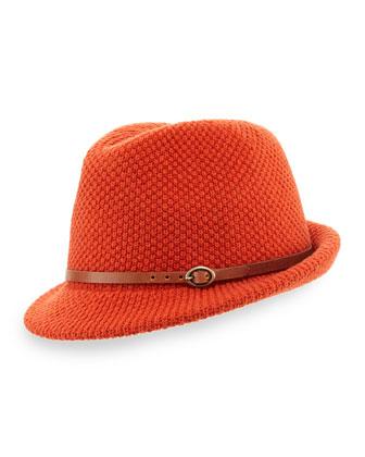 Knit Fedora Hat with Leather Band, Orange