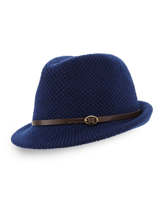 Knit Fedora Hat with Leather Band, Blue