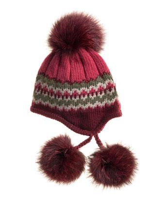 Striped Knit Beanie with Fur Pompoms, Burgundy