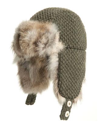 Fox Fur-Trim Trapper Hat, Dark Green