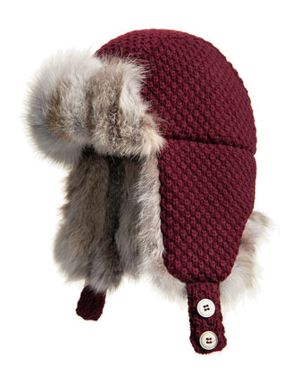 Fox Fur-Trim Trapper Hat, Wine