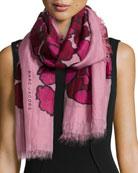 Petal-Print Scarf, Pink