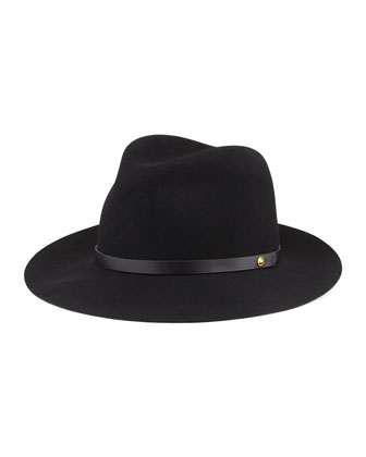 Floppy Brim Wool Fedora Hat, Black