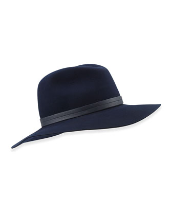 Wide-Brim Wool Fedora, Navy