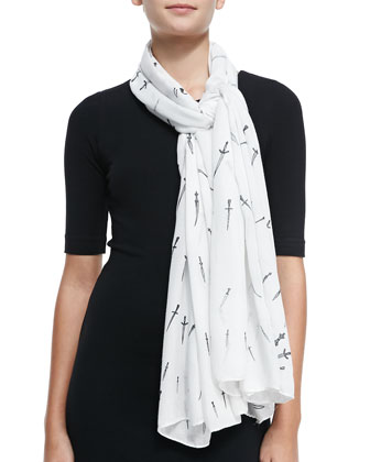 Classic Dagger Wool Scarf, White
