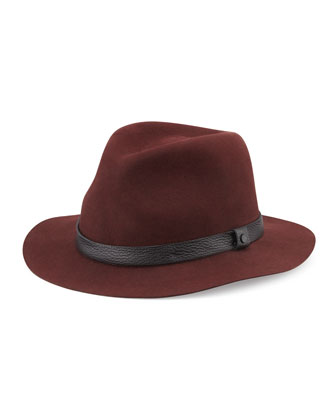 Abbott Wool Fedora Hat, Wine