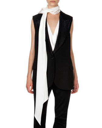 Woven Single-Button Vest, V Illusion Insert Blouse, Flat Front Trousers & ...
