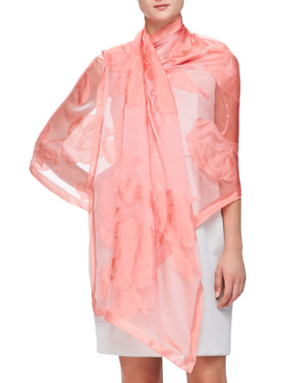 Sheer Floral Fil Coupe Wrap, Coral
