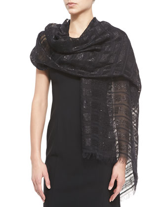 Sequin Sheer-Stripe Scarf, Black