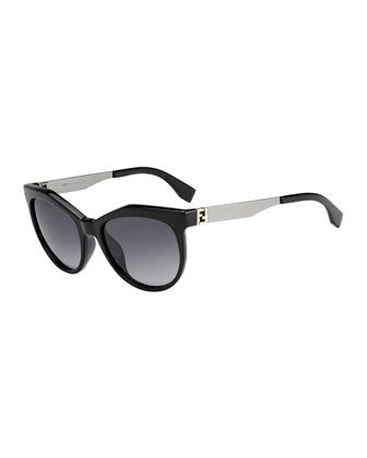 Fendista-Temple Sunglasses, Black