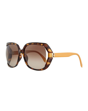Fendista Temple Sunglasses, Havana/Orange