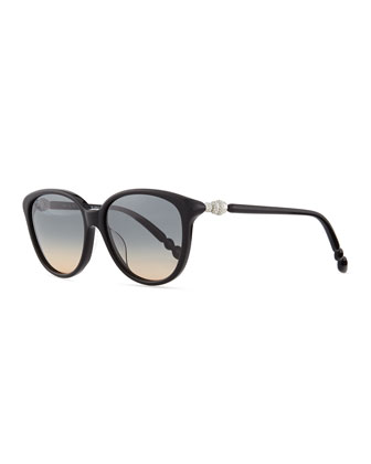 Pave Crystal-Temple Round Sunglasses, Black