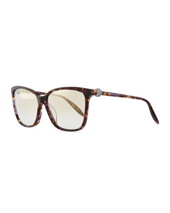 Rectangle Havana Sunglasses, Violet/Multi