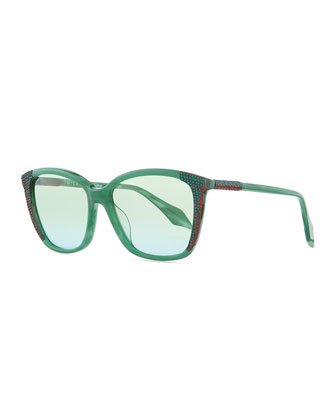 Crystal-Embellished Cat-Eye Sunglasses, Green