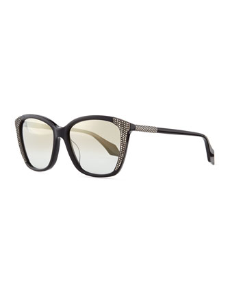 Crystal-Embellished Cat-Eye Sunglasses, Black