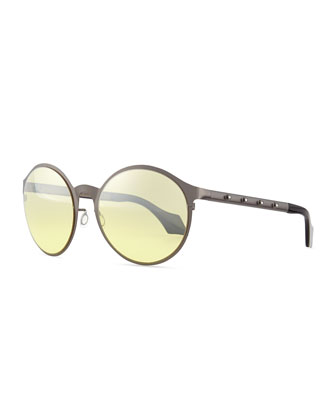 Round Sunglasses with Crystal Studs, Gunmetal
