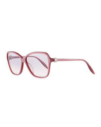 Pave Crystal-Temple Rectangle Sunglasses, Pink