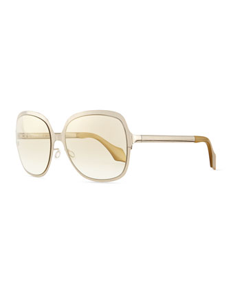 Matte Metal Square Sunglasses with Studs, Gold
