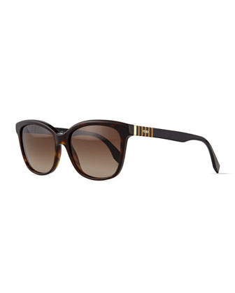 Pequin Striped-Temple Sunglasses, Havana