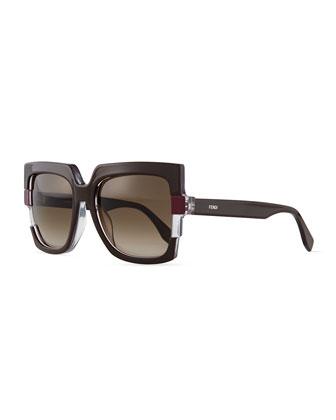 Large Square Colorblock Sunglasses, Brown/Gray