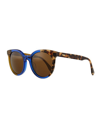 Limited-Edition Colorblock Sunglasses, Blue/Havana